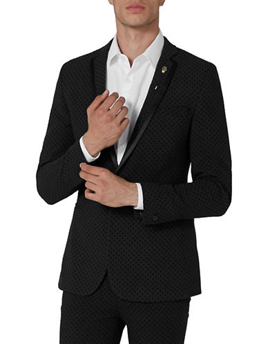 Topman Dotted Ultra Skinny Suit Jacket-BLACK-34