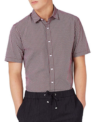 Topman Slim Fit Ditsy Print Sport Shirt-BURGUNDY-Medium