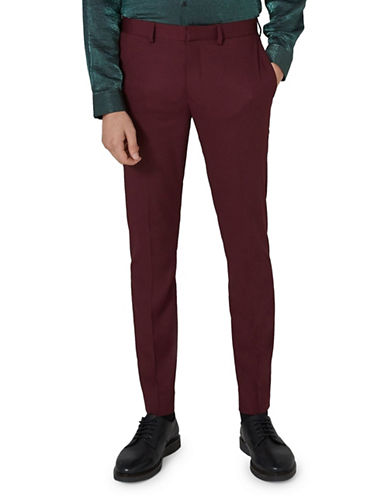 Topman Skinny Fit Tux Trousers-BURGUNDY-32