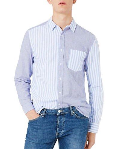 Topman Mixed Stripe Sport Shirt-BLUE-Medium