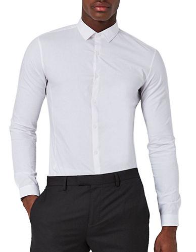 Topman Polka Dot Muscle Fit Shirt-WHITE-Large