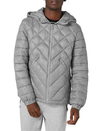 Topman Hooded Liner Jacket-GREY-Medium