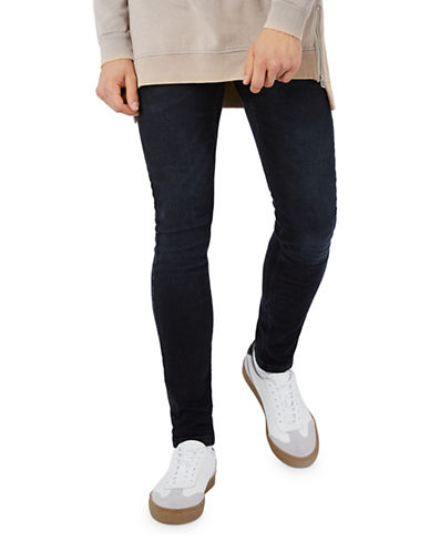 Topman Washed Stretch Skinny Jeans-WASHED BLACK-32 Short