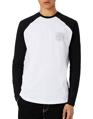 Topman Printed Raglan Long Sleeve T-Shirt-WHITE-Medium 89212974_WHITE_Medium