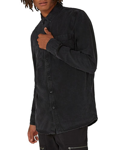Topman Ripped Denim Shirt-BLACK-Small 89674421_BLACK_Small