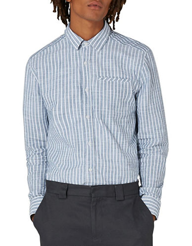 Topman Slubby Stripe Sport Shirt-GREY-Large