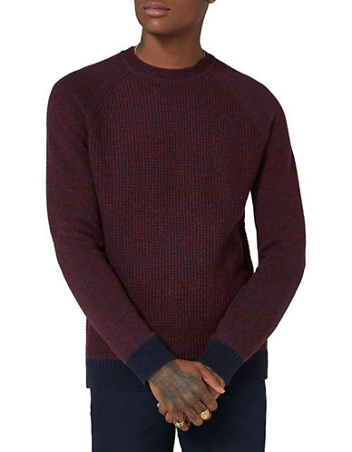Topman Slim Fit Lambswool-Blend Crewneck-BURGUNDY-X-Small