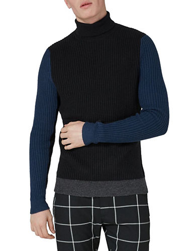 Topman Slim Fit Lambswool-Blend Turtleneck-BLUE-Large