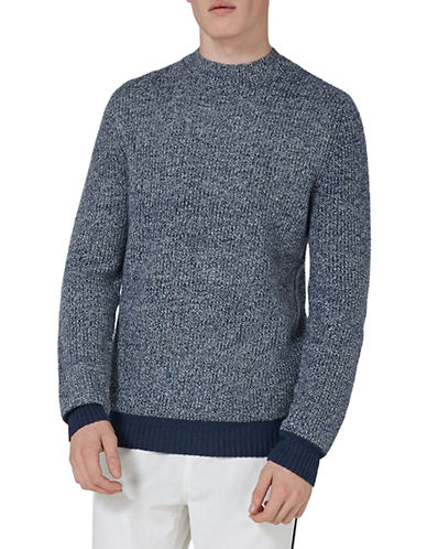 Topman Slim Fit Lambswool-Blend Crewneck-MID BLUE-Medium