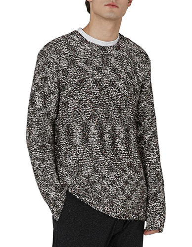 Topman Slim Fit Rainbow Neppy Sweater-GREY-Small