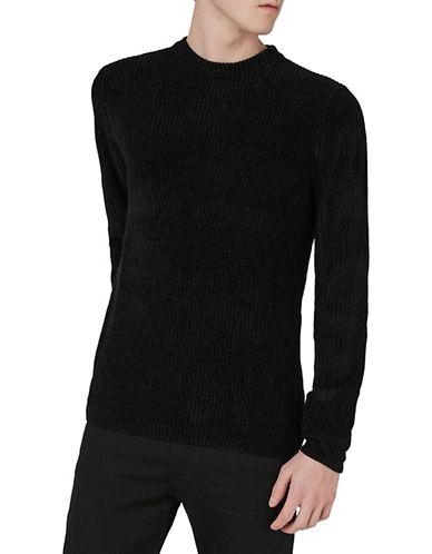 Topman Slim Fit Chenille Sweater-BLACK-Small