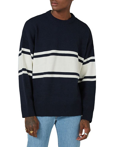 Topman LTD Classic Fit Stripe Sweater-NAVY BLUE-Large
