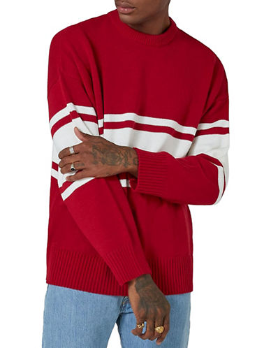 Topman LTD Classic Fit Stripe Sweater-BURGUNDY-X-Large