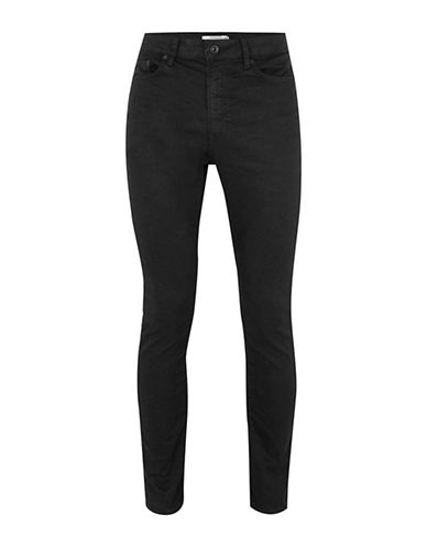 Topman Oil Coated Stretch Tapered Jeans-BLACK-28 Short