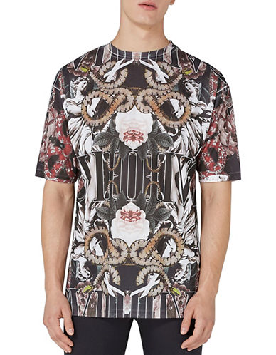 Topman Snake Print Mesh T-Shirt-BLACK-Medium