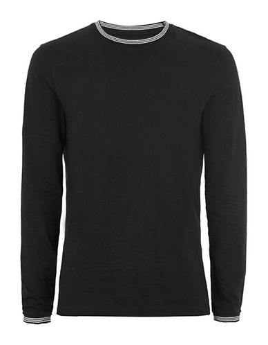 Topman Muscle Fit Tipped Ringer Top-BLACK-Small