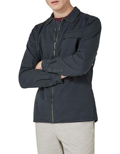 Topman Classic Collar Zip Overshirt-GREY-Large