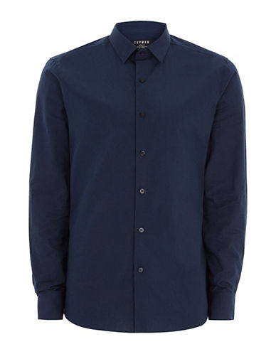 Topman Fine Check Shirt-BLUE-X-Small