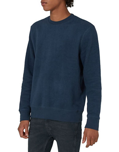 Topman Classic Fit Brushed Sweatshirt-DARK BLUE-X-Small