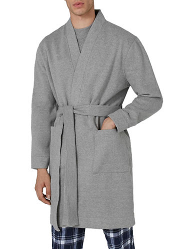 Topman Classic Fit Jersey Robe-GREY-Large/X-Large