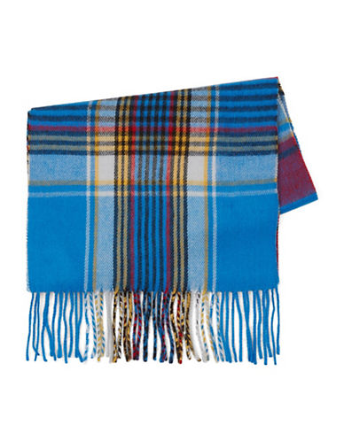 Topman Check Blanket Scarf-BLUE-One Size