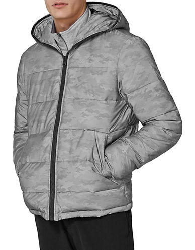 Topman Reflective Camouflage Puffer Jacket-LIGHT GREY-X-Large