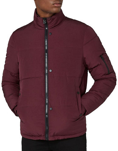 Topman Classic Fit Puffer Jacket-BURGUNDY-Large