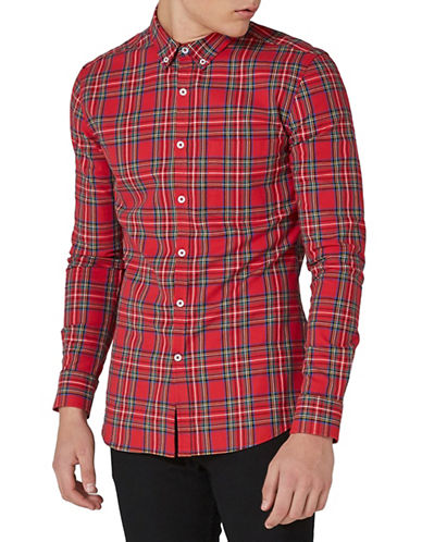 Topman Carlos Tartan Sport Shirt-RED-X-Small