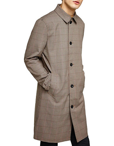 Topman Classic Fit Check Mac Coat-GREY-Large