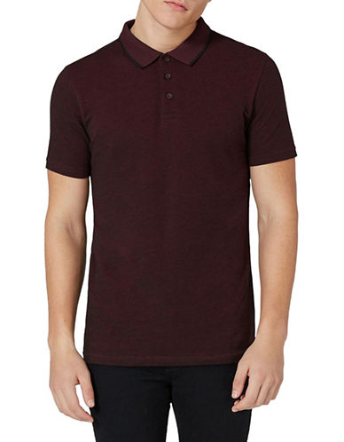 Topman Leon Tipped Muscle Fit Polo-RED-X-Large