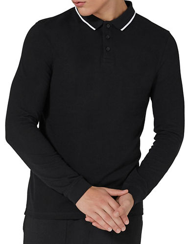 Topman Muscle Fit Leon Long-Sleeved Polo-BLACK-Medium