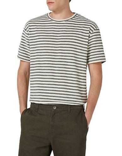 Topman Stripe Towelling T-Shirt-KHAKI-Medium