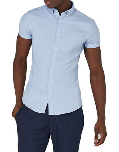 Topman Muscle Fit Oxford Shirt-BLUE-Medium