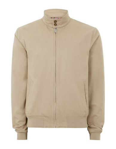 Topman Classic Fit Harrington Jacket-STONE-Large