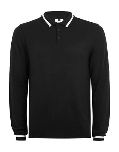 Topman Tipped Slim Polo-BLACK-Large
