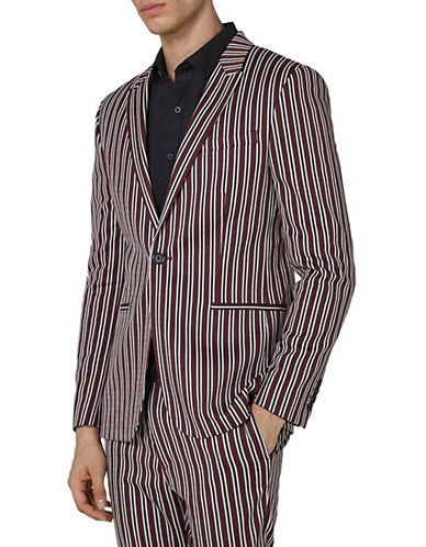 Topman Skinny Fit Stripe Suit Jacket-BURGUNDY-48