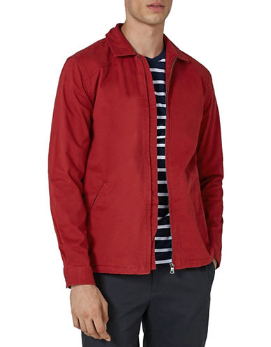 Topman Pierre Zip-Up Jacket-RED-Medium