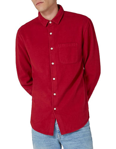 Topman LTD Dawson Flannel Shirt-RED-X-Large