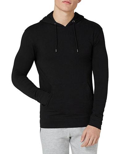 Topman Muscle Fit Hoodie-BLACK-XX-Large