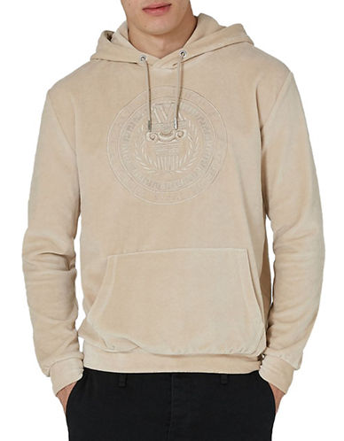 Topman Classic Fit Velour Embroidered Hoodie-GOLD-X-Large
