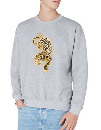 Topman Embroidered Leopard Sweatshirt-GREY-Large