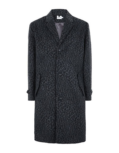 Topman Leopard Print Overcoat-CHARCOAL-Medium