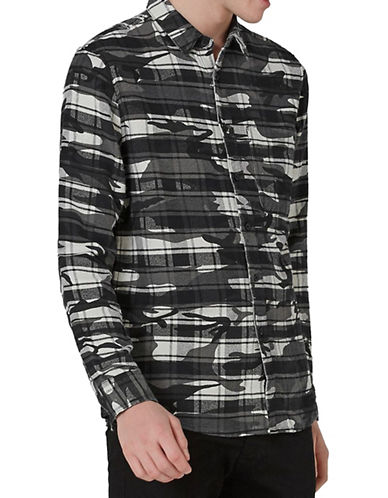 Topman Classic Fit Check Camouflage Sport Shirt-BLACK-X-Small