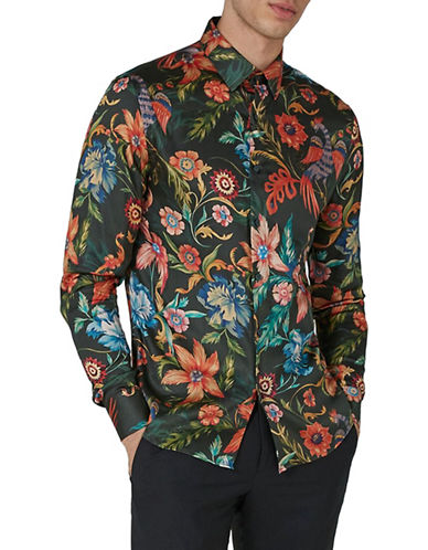 Topman Slim Fit Floral Sport Shirt-GREEN-Small