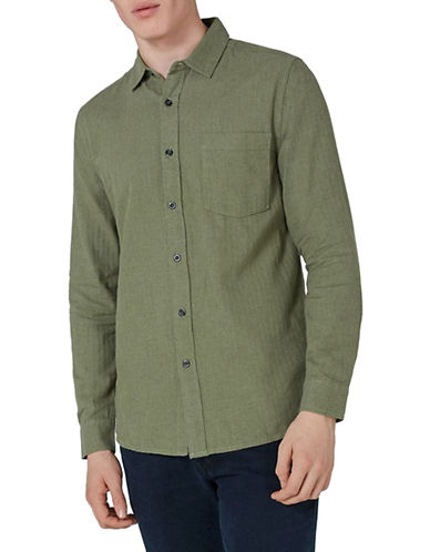 Topman Classic Fit Flannel Sport Shirt-GREEN-X-Large