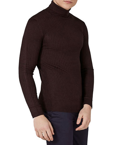 Topman Muscle Fit Ribbed Turtleneck Sweater-BURGUNDY-Large