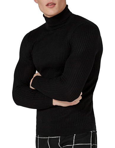 Topman Muscle Fit Ribbed Turtleneck Sweater-BLACK-Small