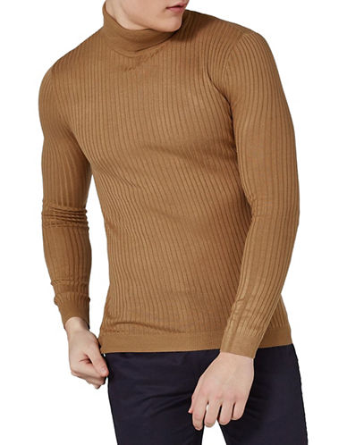 Topman Muscle Fit Ribbed Sweater-LIGHT BROWN-Medium