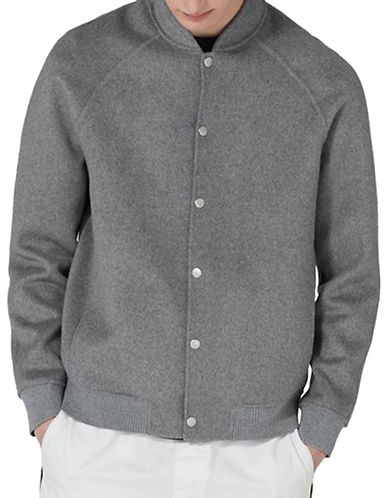 Topman Classic Fit Wool-Blend Smart Bomber Jacket-GREY-Large