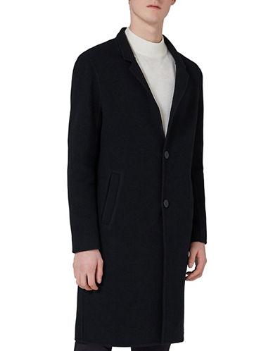 Topman Classic Fit Wool-Blend Smart Overcoat-DARK BLUE-Medium